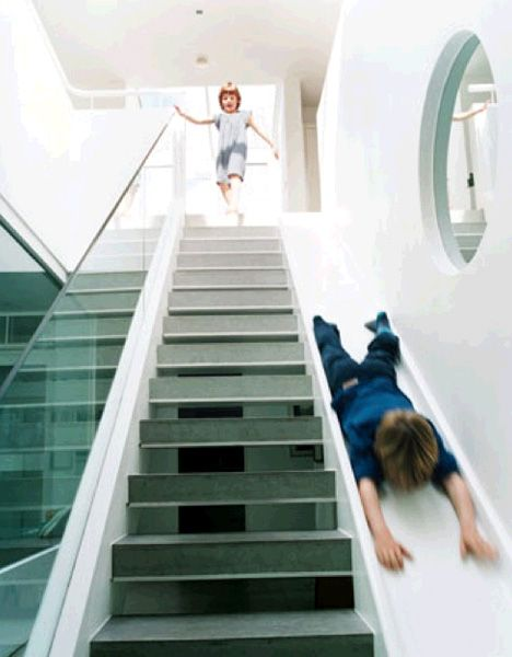 Sliding staircase. Good for kids - or laundry! : )For Kids, Sliding Stairs, Dreams House, Indoor Slides, Growing Up, Future House, Stairs Sliding, Indoor Sliding, Alex O'Loughlin