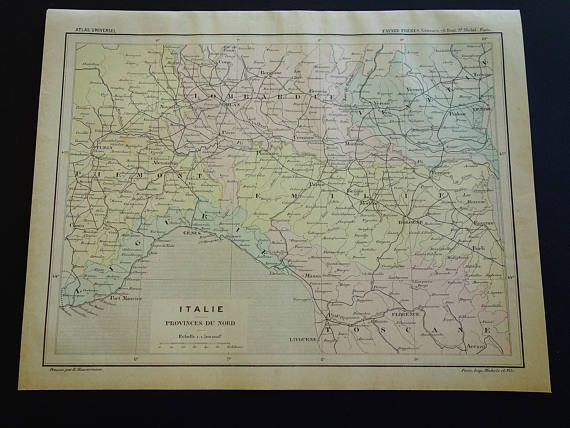 Northern Italy map ORIGINAL 1896 antique French print about