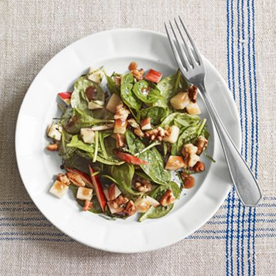 Apple-Walnut Salad -- Apple and walnuts are a classic fall combo, and here, they become crunchy focus for a festive, seasonal salad. Serve with crusty, whole-grain bread on the side, or as a healthy starter to a larger meal. #myplate #fruit #vegetables