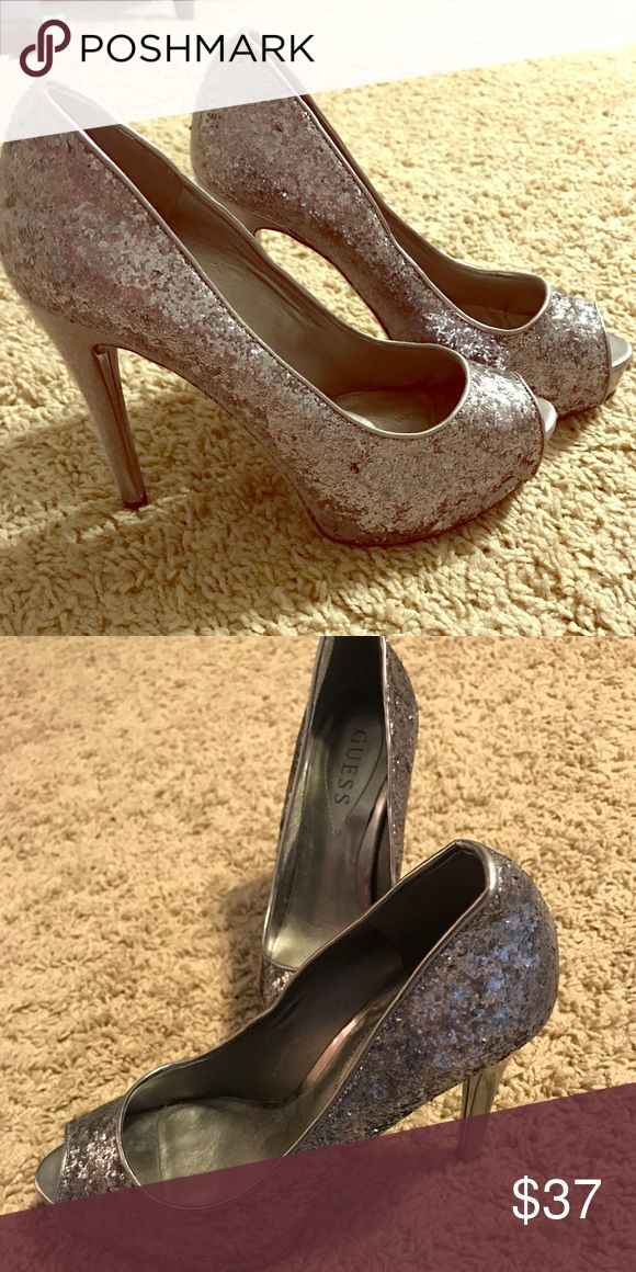 Guess Silver Peep Toe Pumps Guess Silver Peep Toe Pumps, only worn once. Guess Shoes Heels