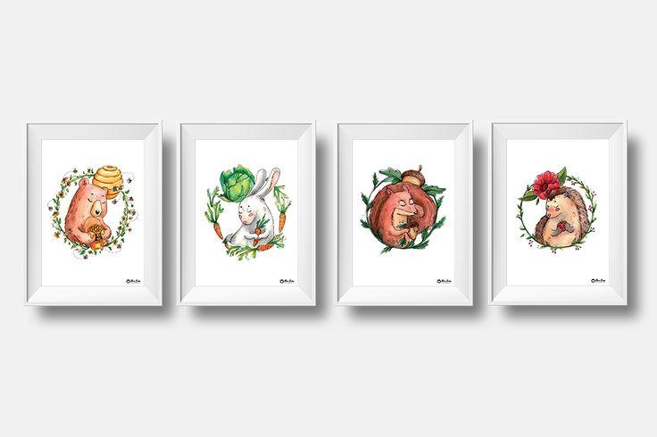 Watercolor Forest Animal set on Behance by Erika Biro