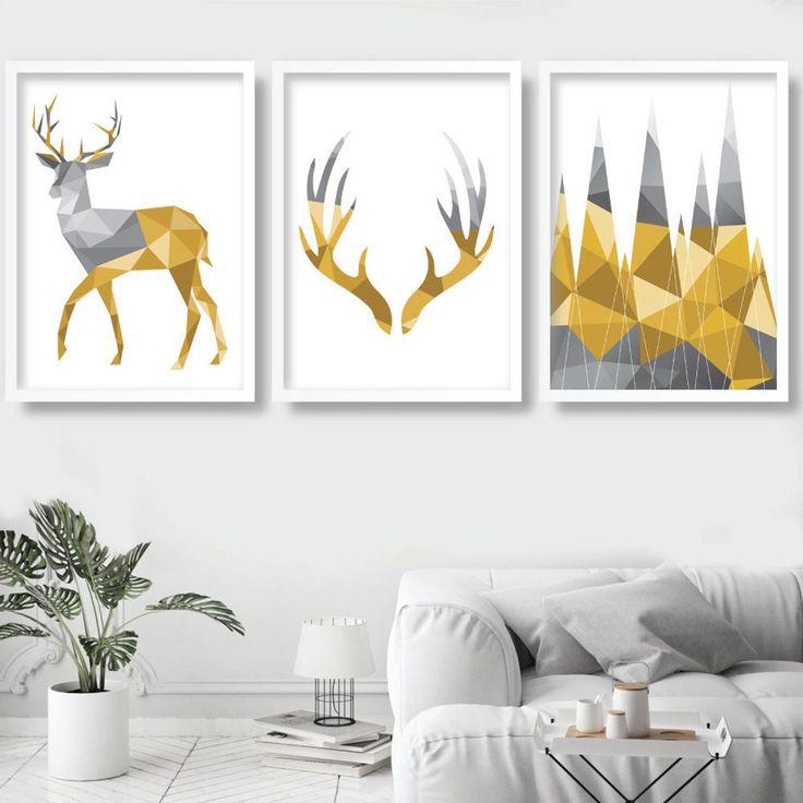 Geometric set of 3 yellow grey art prints stag antlers