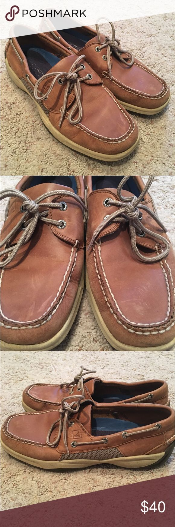 Original Brown Sperry Topsider These have a great classic look! There is normal wear on the top of the leather but nothing a little shoe polish won't get rid of. I loved these shoes but don't wear them as much as I would like. Sperry Shoes Boat Shoes