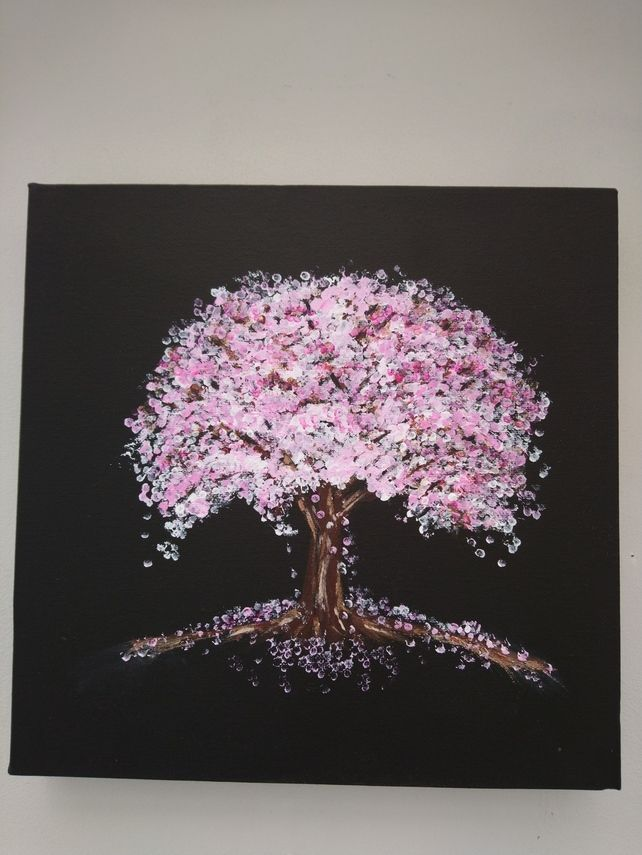 Original Acrylic Painting Of Cherry Blossom Abstract Art Affordable Modern Art Art Painting Acrylic Abstract Art Paintings Acrylics Black Canvas Paintings