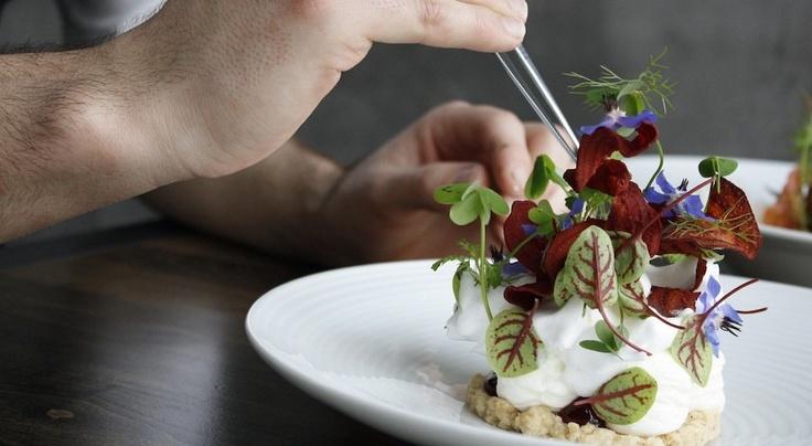 red medicine LA | pastry chef david rodriguez plating the rhubarb & beet dessert