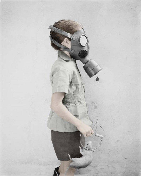 girl with mask and rat