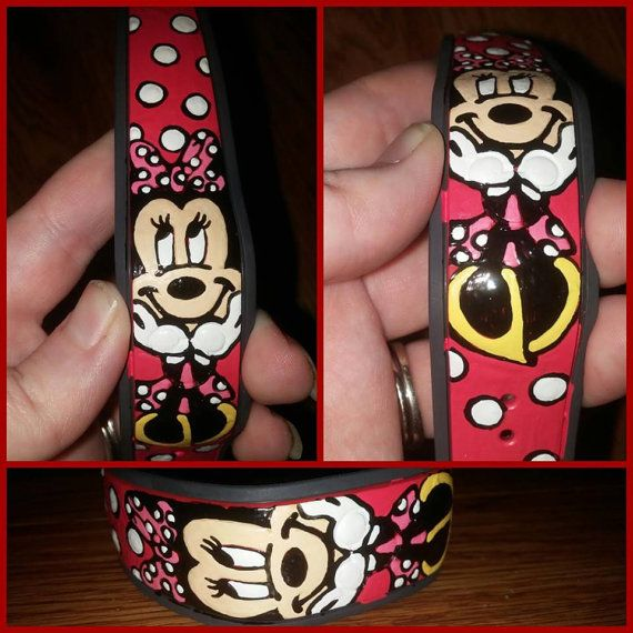 Minnie Mouse Hand Painted Magic Band by BlueJeanHeart on Etsy