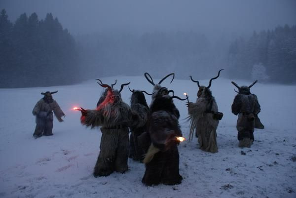 This time of year isn't always about Santa and Elves.  Krampus, in Tyrol also called Tuifl, is a demon-like creature represented by a fearsome, hand-carved wooden mask with animal horns, a suit made from sheep or goat skin and large cow bells attached to the waist that the wearer rings by running or shaking his hips up and down. Krampus has been a part of Central European, alpine folklore going back since the 17th-century.