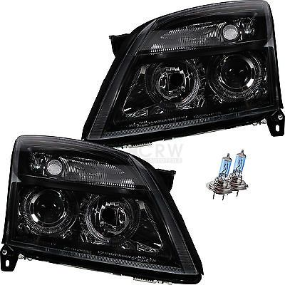 #Headlight set opel vectra c / #signum year 02-05 angel eyes h7+h7 #clear black, View more on the LINK: http://www.zeppy.io/product/gb/2/191790507929/