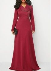 Wine Red Zipper Front Long Sleeve Maxi Dress | Rosewe.com - USD $34.47