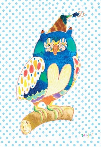 ブージルさんの手にかかれば、フクロウもこんなにオリジナリティ溢れる。 色使いの上手さは、さすがです。