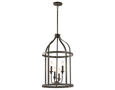 Kichler steeplechase olde bronze four light large foyer pendant on sale