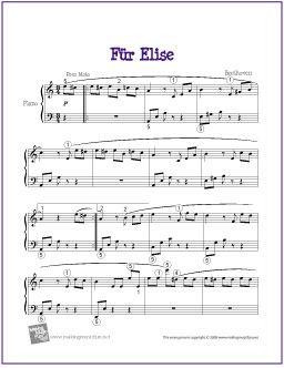 Fur Elise | Free Sheet Music for Easy Piano - http://makingmusicfun.net/htm/f_printit_free_printable_sheet_music/fur-elise.htm