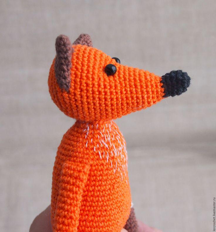Купить Лисичка - рыжий, лиса, лис, лисица, лисичка, лисичка игрушка, хлопковая пряжа, холлофайбер