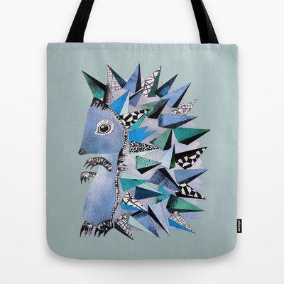 hedgehog Tote Bag by monika petersen - $22.00
