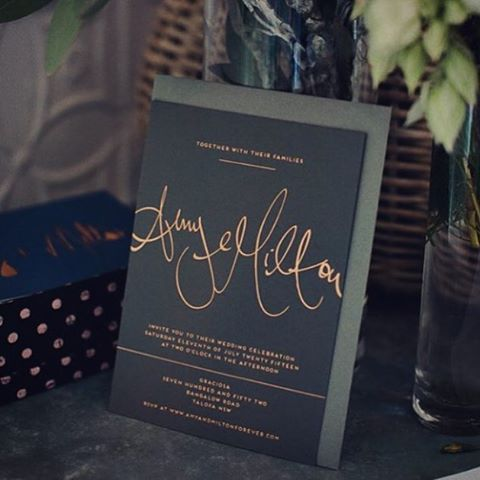 Copper foil on dark grey stock
