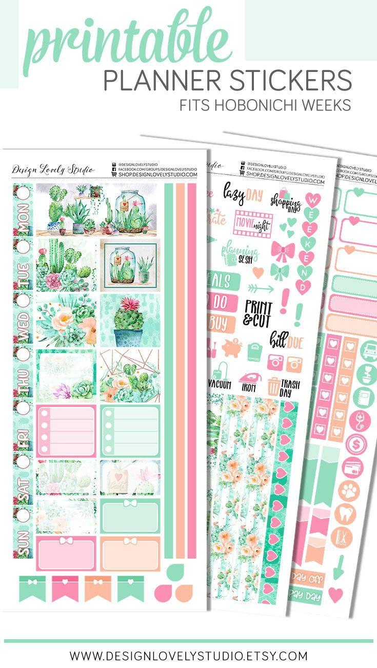 Hobonichi Weeks Cacti Printable Stickers Kit Printable Planner Stickers Planner Stickers Planning Stickers