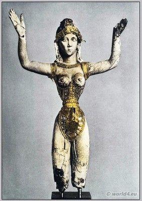Minoan goddes in corset. Crete 3000-1400 BC.