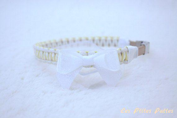 Collier bijou pour chien jaune clair et blanc