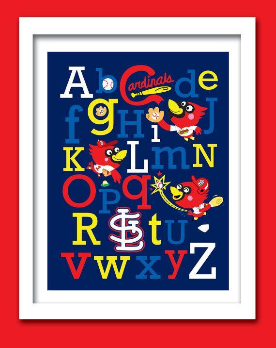 Cardinals Baseball Mascot Alphabet 11 W x 14 H Unframed by ABCMVPs, $25.00