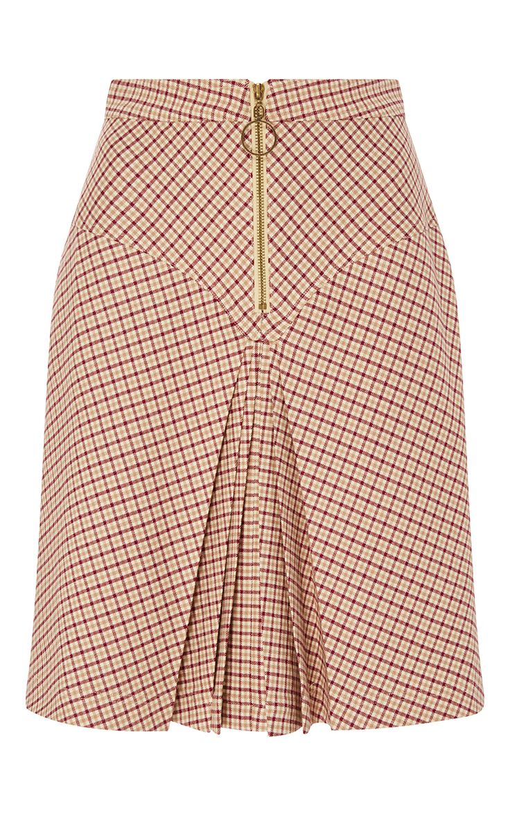 Bordeaux Pleated Checked Yoke Skirt by MANOUSH for Preorder on Moda Operandi