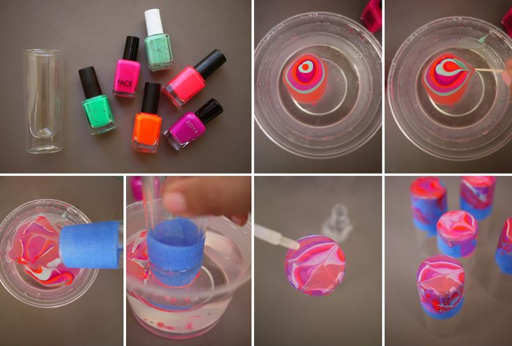 How to Make Nail Polish Marbled Glassware - DIY & Crafts - Handimania  What you need:  Tools:  Painters tape  Toothpicks  Supplies/Ingredients:  Flat bottomed glassware  Variety of colorful nail polish  Clear nail polish  Disposable plastic container  Nail polish remover