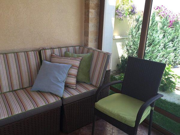 чехол и подушки на диван полоса ткань Dekoma уличная