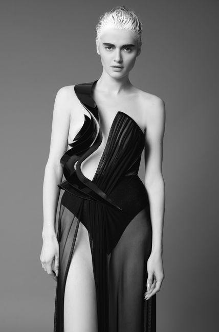 Sculptural Fashion - dress with rigid 3D contours & long flowing skirt - contrast of soft & hard; wearable art // Alon Livne FW13
