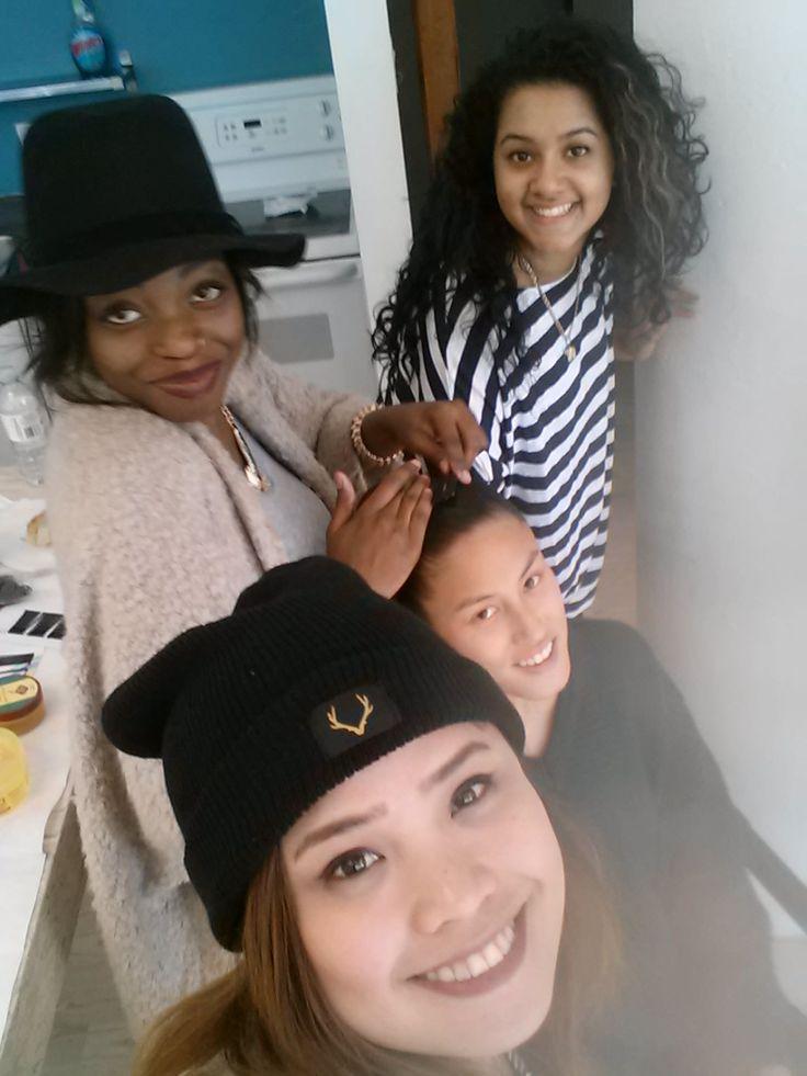 BTS: Hannah, Krystal, Nakita and our model in getting glammed