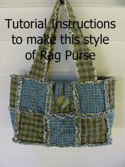 Ashlawnfarms Set of 3 Purses Rag Quilt Pattern Instructions RQQ