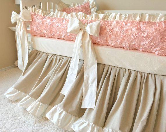 Gathered Crib Skirt Linen Crib Skirt Baby by RitzyBabyOriginal