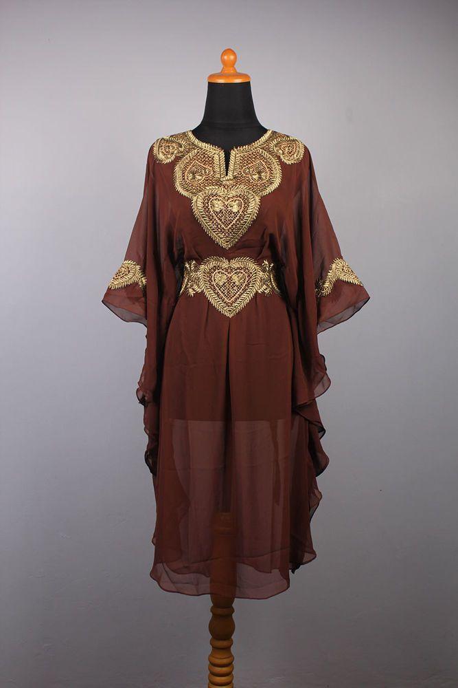 Perfect Tunic Caftan Moroccan Brown Chiffon Party Dress Gold Embroidery Jalabiya #Handmade #TunicKaftan #Christmas #Handmade #MaxiDress #Wedding #Handmade #menskaftan #dress #clothing #caftan #moroccankaftan #cotton #islamicdress #shirt #embroideryshirt #tunic #wholeasle #embroidery #women