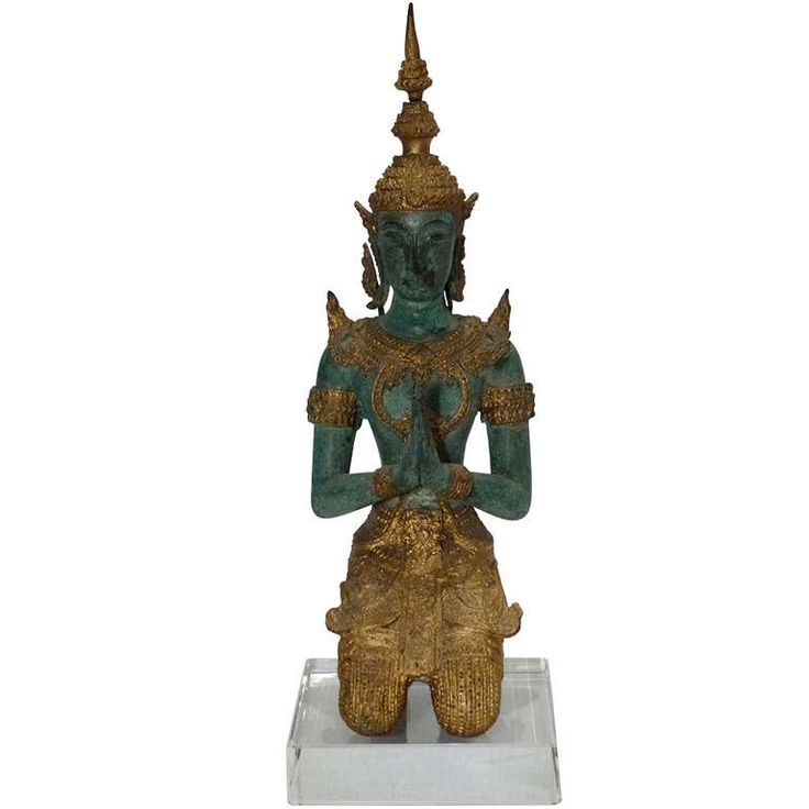 Bronze and Gold Leaf Praying Thai Buddha Sculpture   From a unique collection of antique and modern sculptures at https://www.1stdibs.com/furniture/decorative-objects/sculptures/
