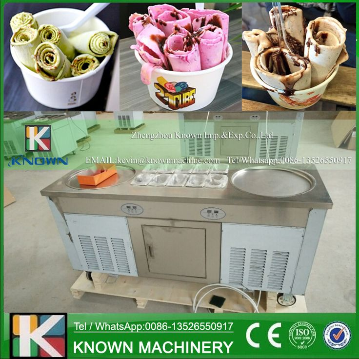 Stainless steel 220V / 110V double round ice pans of fried ice cream roll machine with R410A Refrigerant (Free shipping by sea)