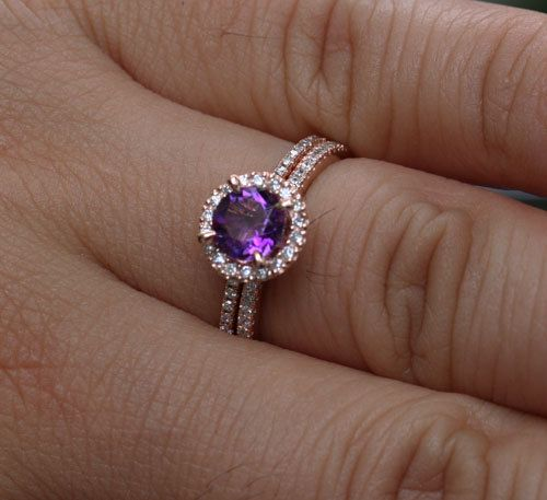 This Stunning delicate and feminine 14k Gold Single Halo Ring Features a flawless Natural Amethyst Round 6mm and surrounded with Natural Diamonds. The Diamonds go halfway round the band. This listing is for the Amethyst Ring as well as a Matching Diamond Wedding Band. If you would like any other Gemstone set in this Ring, please convo me. Please read my CUSTOM ORDER Section for further information. Details of Engagement Ring: Solid 14k Rose Gold(shown in picture)  Natural Amethyst: 6mm…