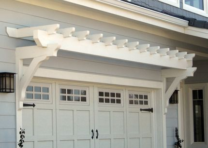Garage door pergola, panel style (carriage-like hardware) garage doors w/ 8-lite windows