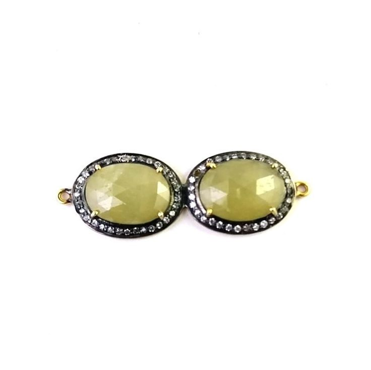 FREE SHIPPING 925 SOLID STERLING SILVER NATURAL YELLOW SAPPHIRE CONNECTOR  #SilvexStore
