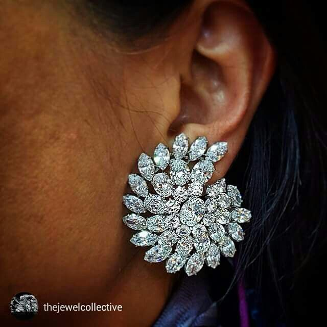 @thejewelcollective from @sharpjewelsny Look Into My Eyes!!! What a hypnotic pair of platinum, oval cut, marquise cut and round cut diamond earrings!!! We have lost all control and we are in lurrrveeee