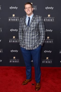 J. J. Watt, of the Houston Texans, arrives at the 4th annual NFL Honors at the Phoenix Convention Center Symphony Hall on Saturday, Jan. 1, 2015. (Photo by Jordan Strauss/Invision for NFL/AP Images)