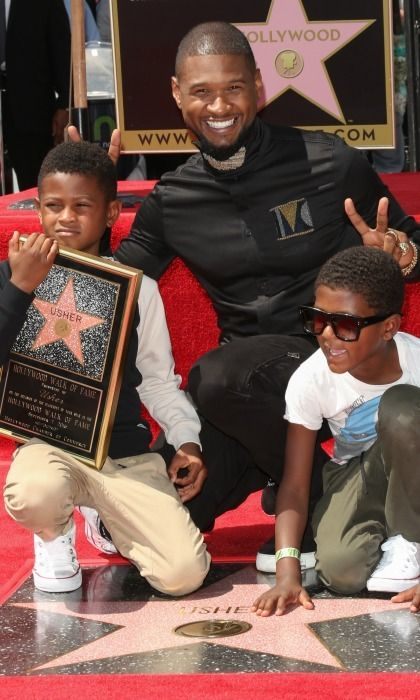 Star quality! Usher had some fun with his sons Usher Raymond V and Naviyd Ely Raymond during his Hollywood Walk of Fame presentation.