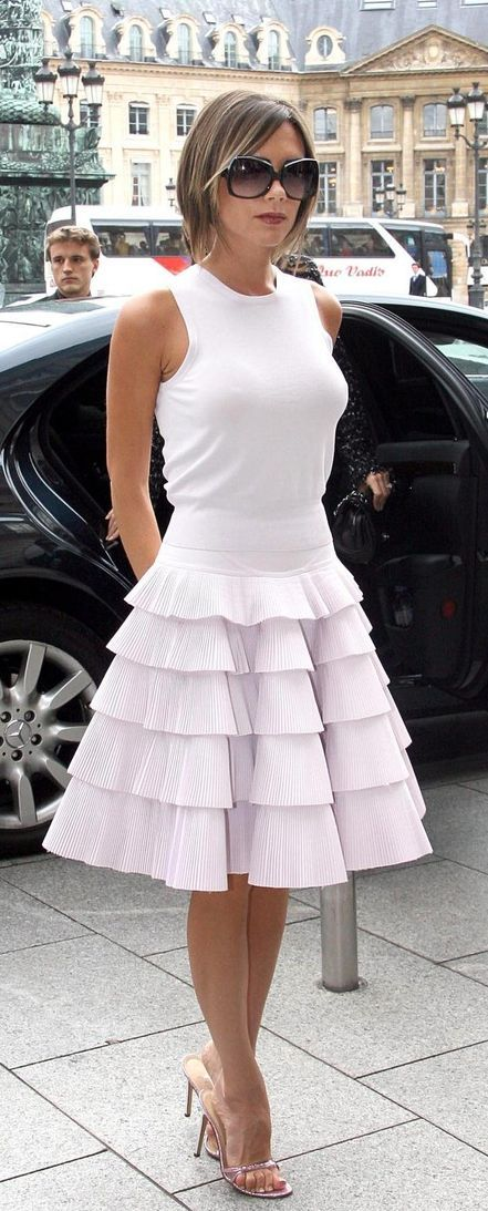 Victoria Beckham white dress                                                                                                                                                                                 More