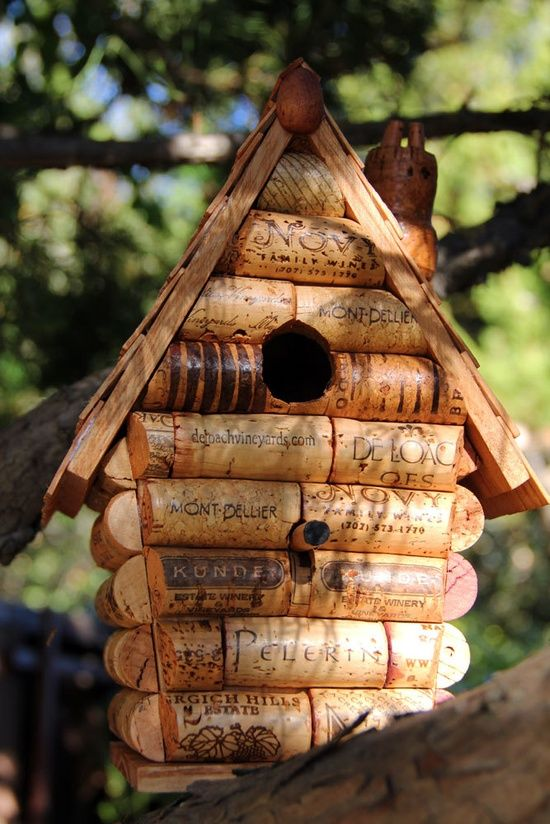 DIY Birdhouse made out of corks!  @Jason Perosa this is something you should make.