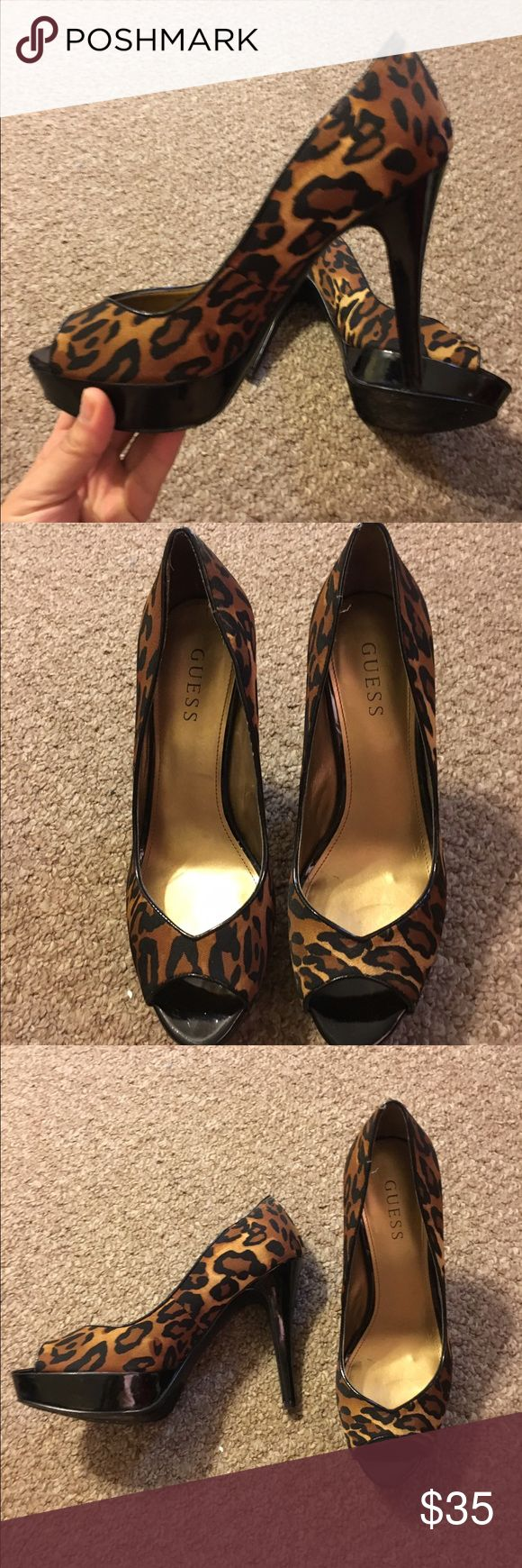 Leopard print Guess shoes High hell guess open toes Guess Shoes Heels