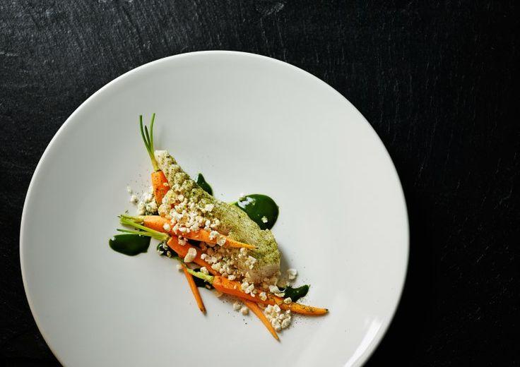 Brill, pork and parsley at our Michelin star restaurant Kokkeriet, Copenhagen - Denmark.