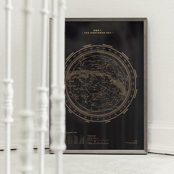 The Northern Sky Map No. 1 sort-guld / black-gold