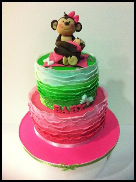 Pink & Green Mommy Monkey Cake
