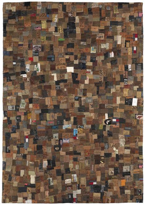 Definitely original, patchwork jeans labels rug!!