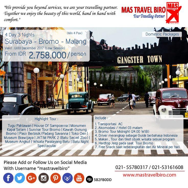 4D3N Surabaya - Bromo - Malang hanya dari Rp 2.758.000/Orang , Yuk Pesan ! ;) #mastravelbiro #tour #indonesia #Jatim #domestic