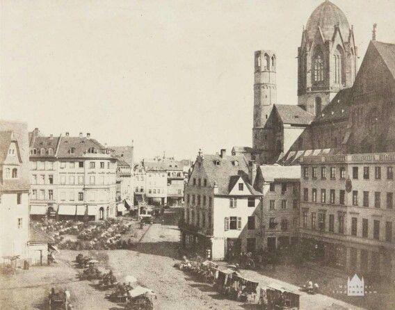 Marktplatz Mainz und der Dom Foto von 1853 | Fotograf: Charles Marville