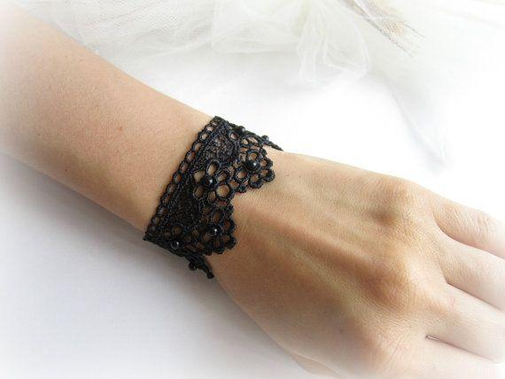 Black lace bracelet flowers lace bracelet by MalinaCapricciosa